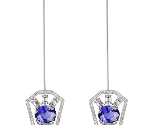 Earrings that transform into brooches by Nikos Koulis in white gold, diamonds