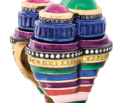 The Micki ring by Solange Azagury-Partridge, emeralds, sapphires, diamonds, amethysts, ceramic