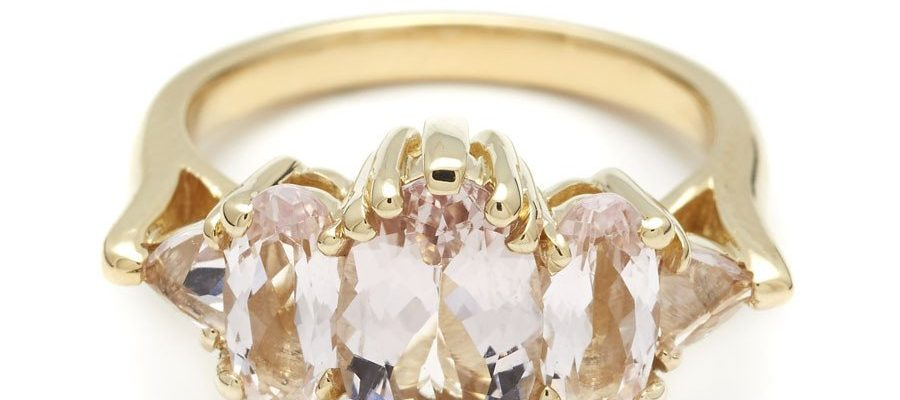 Anna Sheffield Theda Ring in Oval Pink Morganite