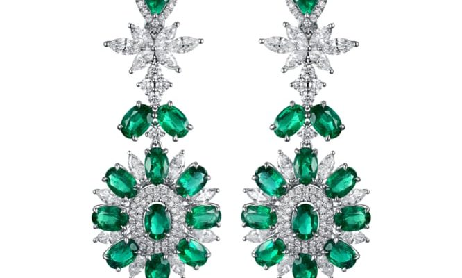 James Ganh Kensington earrings in 18-carat gold with white diamonds and emeralds